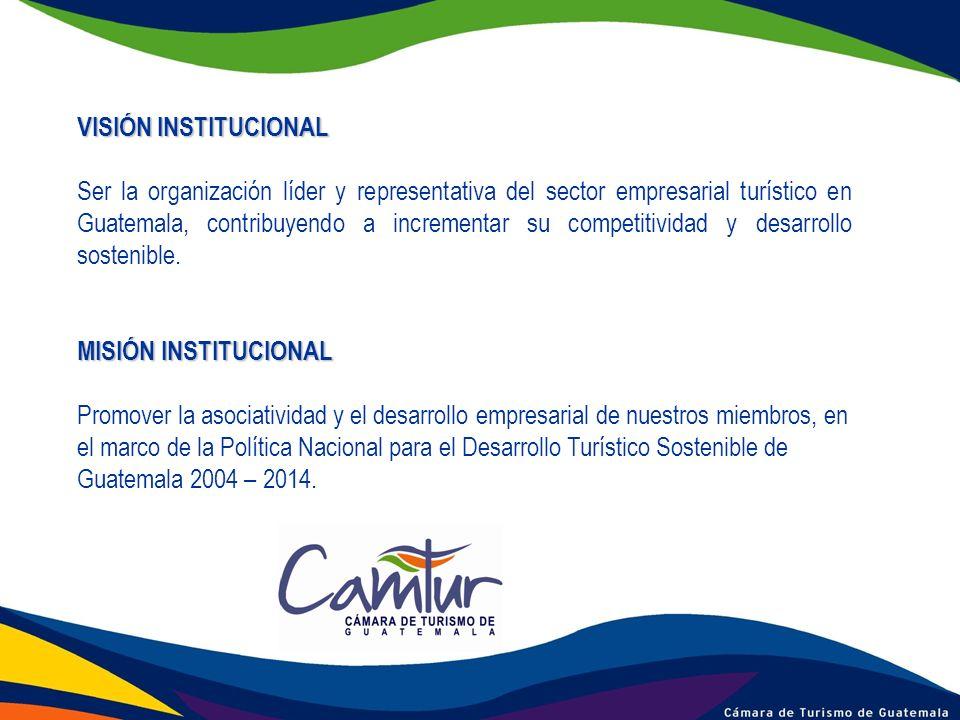 VISIÓN INSTITUCIONAL Ser la organización líder y representativa del sector empresarial turístico en Guatemala, contribuyendo a incrementar su competit