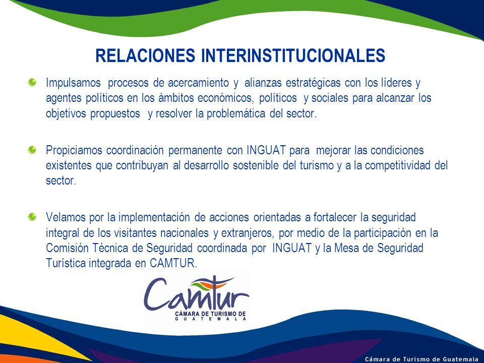 RELACIONES INTERINSTITUCIONALES Impulsamos procesos de acercamiento y alianzas estratégicas con los líderes y agentes políticos en los ámbitos económi