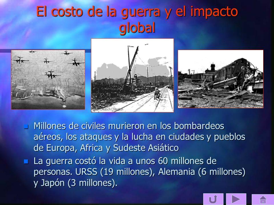 El costo de la guerra y el impacto global n Millones de civiles murieron en los bombardeos aéreos, los ataques y la lucha en ciudades y pueblos de Eur