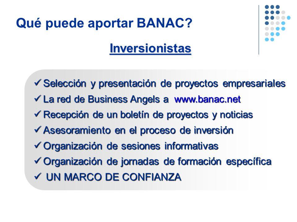 Qué puede aportar BANAC? Selección y presentación de proyectos empresariales Selección y presentación de proyectos empresariales La red de Business An