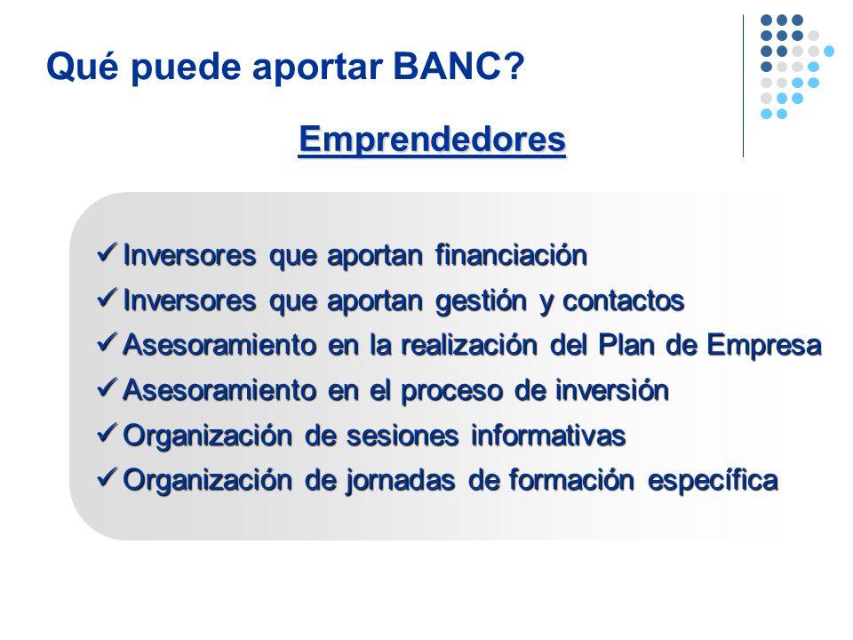 Emprendedores Qué puede aportar BANC? Inversores que aportan financiación Inversores que aportan financiación Inversores que aportan gestión y contact