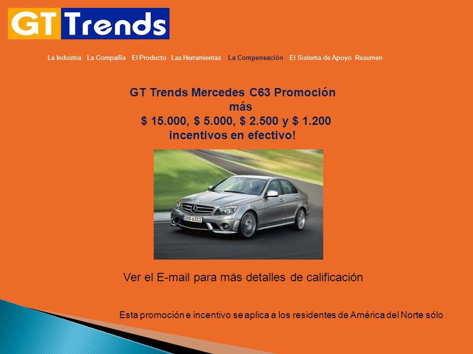 La Industria La Compañía El Producto Las Herramientas La Compensación El Sistema de Apoyo Resumen GT Trends Mercedes C63 Promoción más $ 15.000, $ 5.0