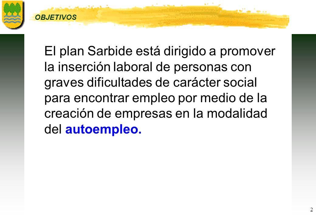 2 El plan Sarbide está dirigido a promover la inserción laboral de personas con graves dificultades de carácter social para encontrar empleo por medio de la creación de empresas en la modalidad del autoempleo.