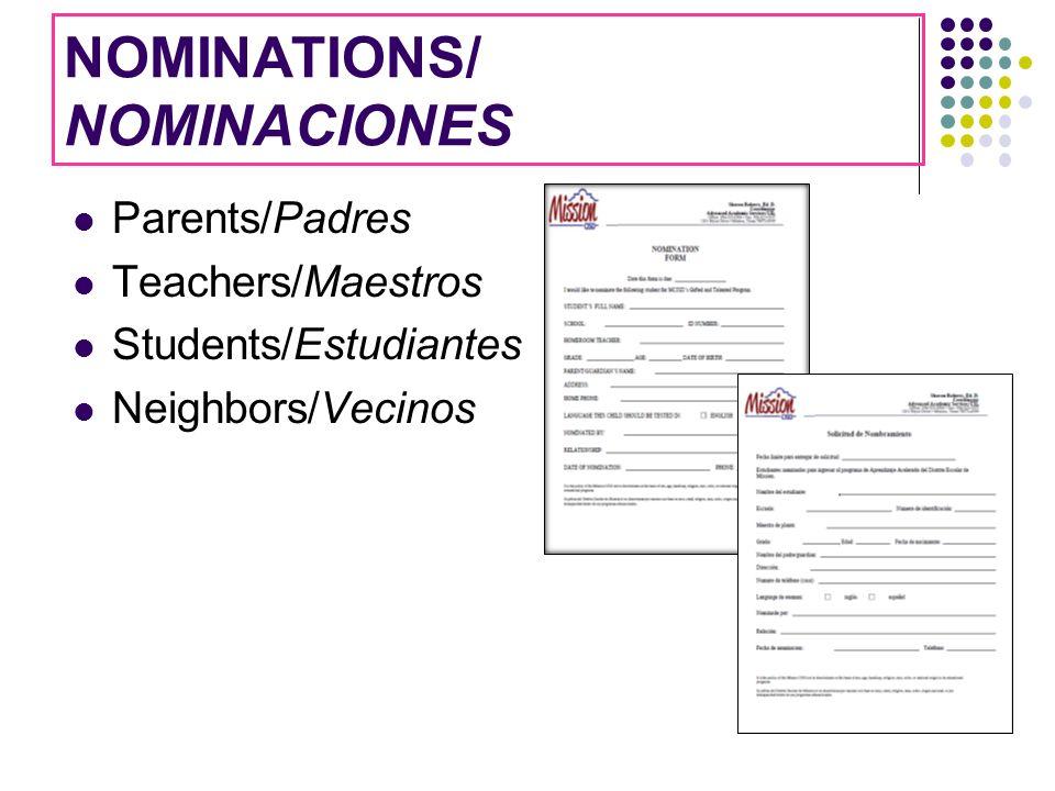 NOMINATIONS/ NOMINACIONES Parents/Padres Teachers/Maestros Students/Estudiantes Neighbors/Vecinos