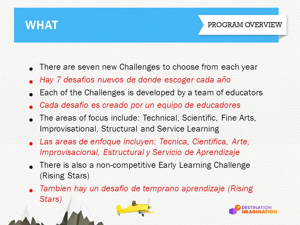 There are seven new Challenges to choose from each year Hay 7 desafios nuevos de donde escoger cada año Each of the Challenges is developed by a team
