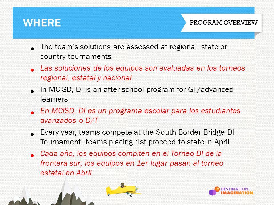 WHERE The teams solutions are assessed at regional, state or country tournaments Las soluciones de los equipos son evaluadas en los torneos regional,