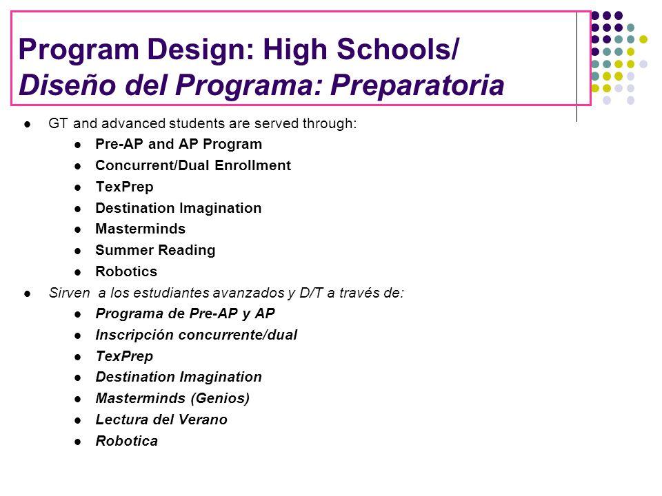 Program Design: High Schools/ Diseño del Programa: Preparatoria GT and advanced students are served through: Pre-AP and AP Program Concurrent/Dual Enr
