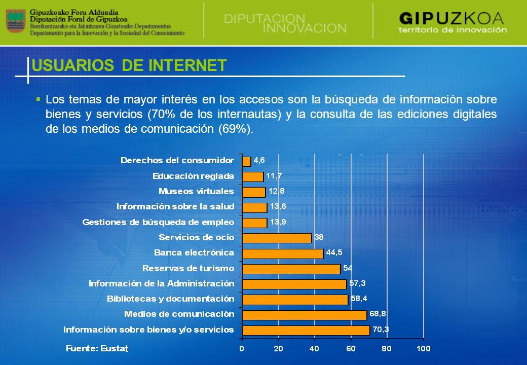 USUARIOS DE INTERNET Los temas de mayor interés en los accesos son la búsqueda de información sobre bienes y servicios (70% de los internautas) y la consulta de las ediciones digitales de los medios de comunicación (69%).