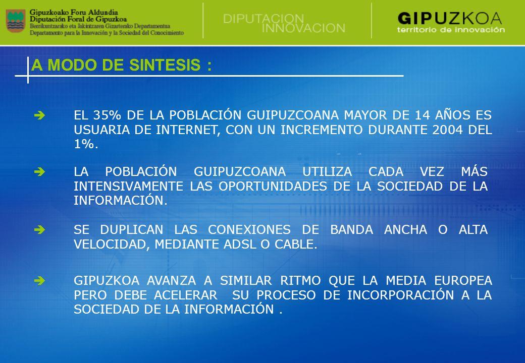 LA POBLACIÓN GUIPUZCOANA UTILIZA CADA VEZ MÁS INTENSIVAMENTE LAS OPORTUNIDADES DE LA SOCIEDAD DE LA INFORMACIÓN.