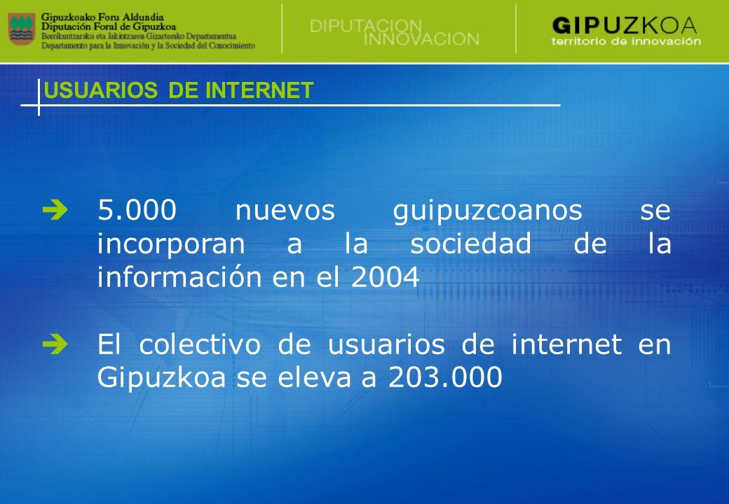 El número de usuarios ha aumentado aproximadamente en 5.000 personas en el último año, superando la cifra total de 203.000 internautas en 2004.