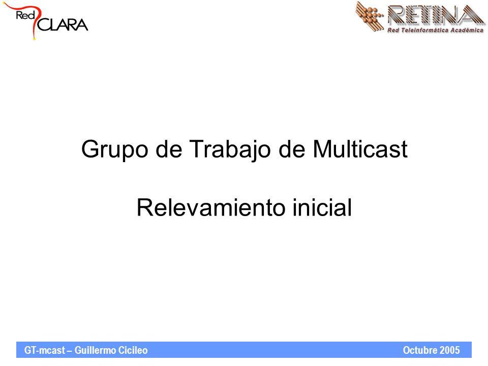 GT-mcast – Guillermo Cicileo Octubre 2005 Relevamiento de infraestructura disponible en RedCLARA Encuesta de relevamiento: –Definición entre todo el grupo de trabajo –Relevamiento a través de CLARA-TEC –Disponible en http://www.redclara.net/doc/Encuesta- Mcast.doc http://www.redclara.net/doc/Encuesta- Mcast.doc Consulta a las NRENs europeas también