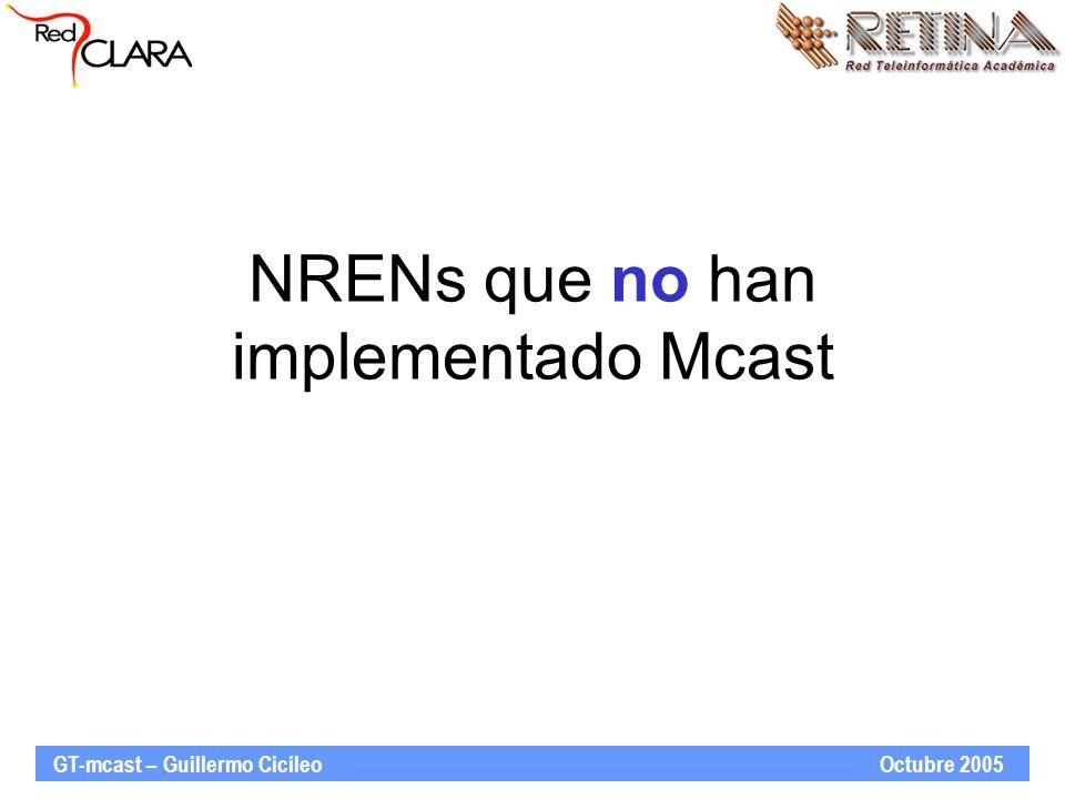 GT-mcast – Guillermo Cicileo Octubre 2005 NRENs que no han implementado Mcast