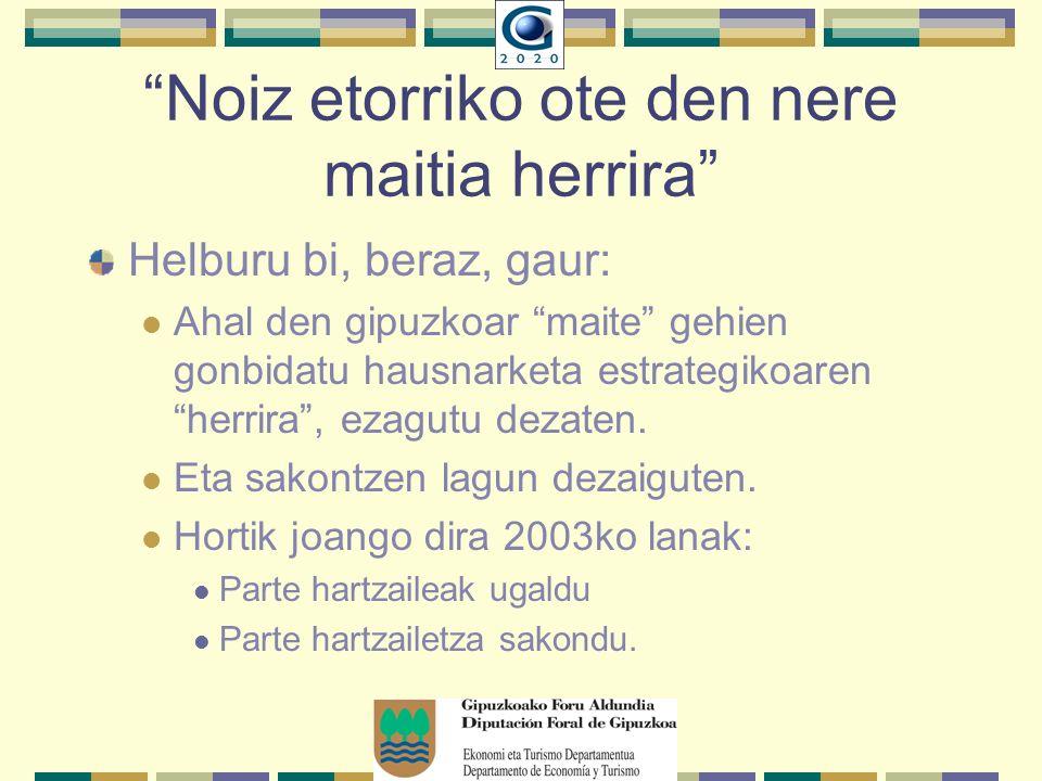 Noiz etorriko ote den nere maitia herrira Helburu bi, beraz, gaur: Ahal den gipuzkoar maite gehien gonbidatu hausnarketa estrategikoaren herrira, ezagutu dezaten.