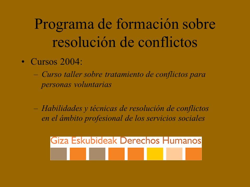 Programa de formación sobre resolución de conflictos Cursos 2004: –Curso taller sobre tratamiento de conflictos para personas voluntarias –Habilidades y técnicas de resolución de conflictos en el ámbito profesional de los servicios sociales