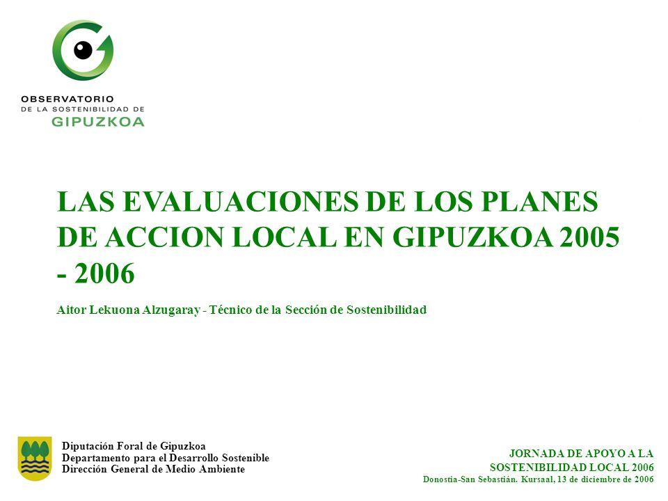 Diputación Foral de Gipuzkoa Departamento para el Desarrollo Sostenible Dirección General de Medio Ambiente JORNADA DE APOYO A LA SOSTENIBILIDAD LOCAL