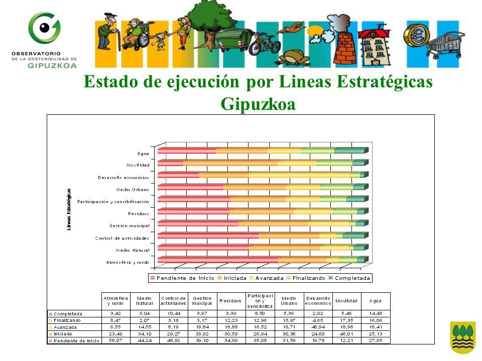 Estado de ejecución por Lineas Estratégicas Gipuzkoa