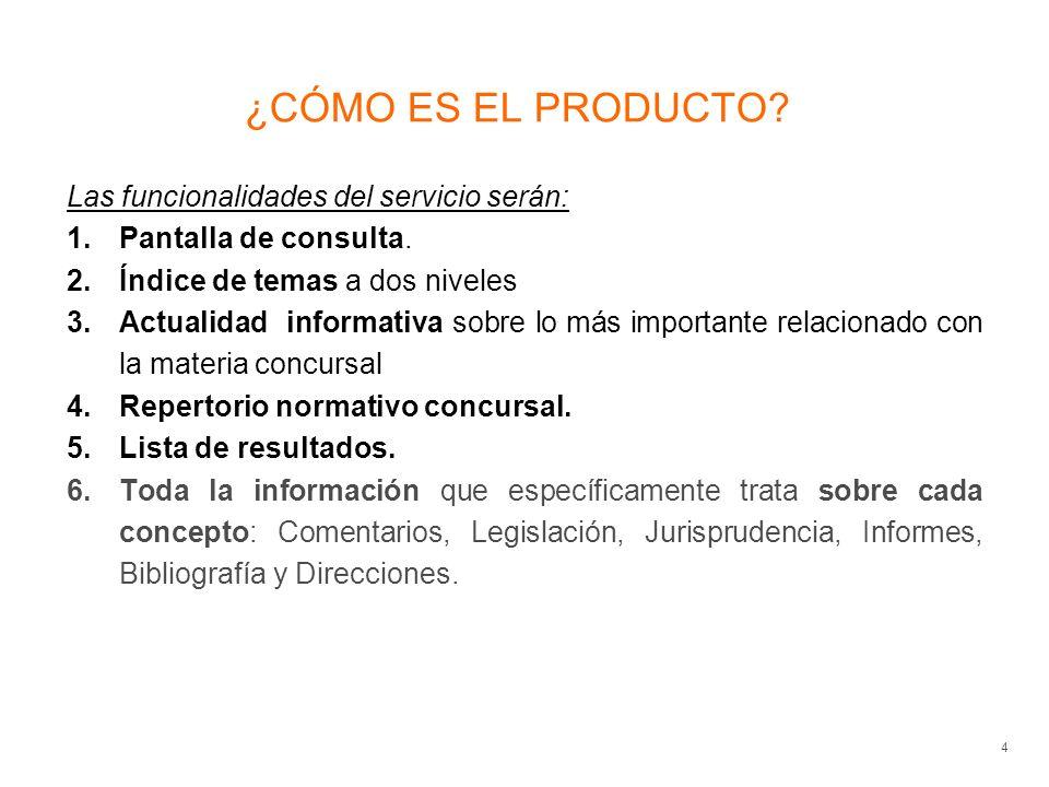 ¿CÓMO ES EL PRODUCTO. 4 Las funcionalidades del servicio serán: 1.Pantalla de consulta.