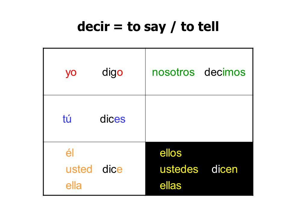 yo digonosotros decimos tú dices él usted dice ella ellos ustedes dicen ellas decir = to say / to tell