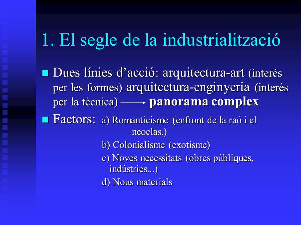 1. El segle de la industrialització Dues línies dacció: arquitectura-art (interés per les formes) arquitectura-enginyeria (interès per la tècnica) pan