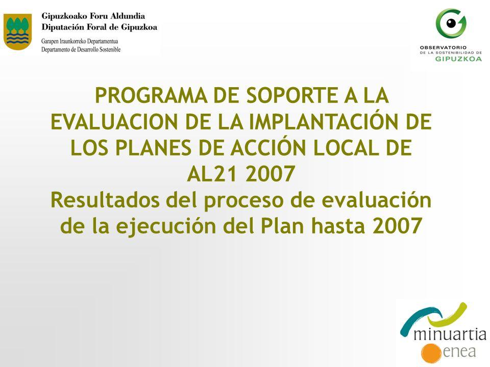 PROGRAMA DE SOPORTE A LA EVALUACION DE LA IMPLANTACIÓN DE LOS PLANES DE ACCIÓN LOCAL DE AL21 2007 Resultados del proceso de evaluación de la ejecución