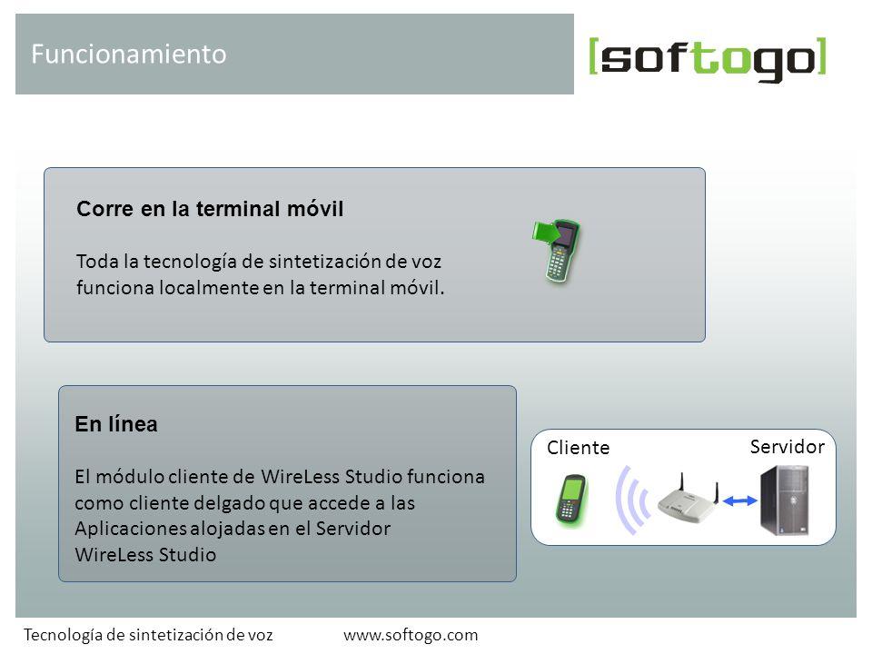 Corre en la terminal móvil Toda la tecnología de sintetización de voz funciona localmente en la terminal móvil.