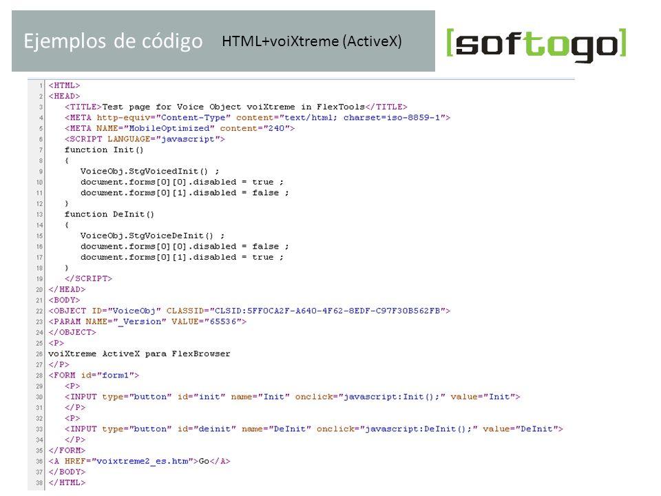 HTML+voiXtreme (ActiveX) Ejemplos de código www.softogo.com
