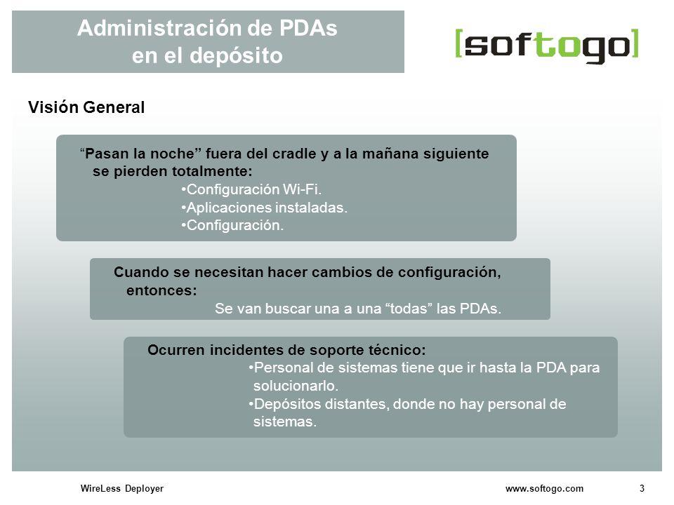 3WireLess Deployer www.softogo.com Administración de PDAs en el depósito Visión General Pasan la noche fuera del cradle y a la mañana siguiente se pierden totalmente: Configuración Wi-Fi.