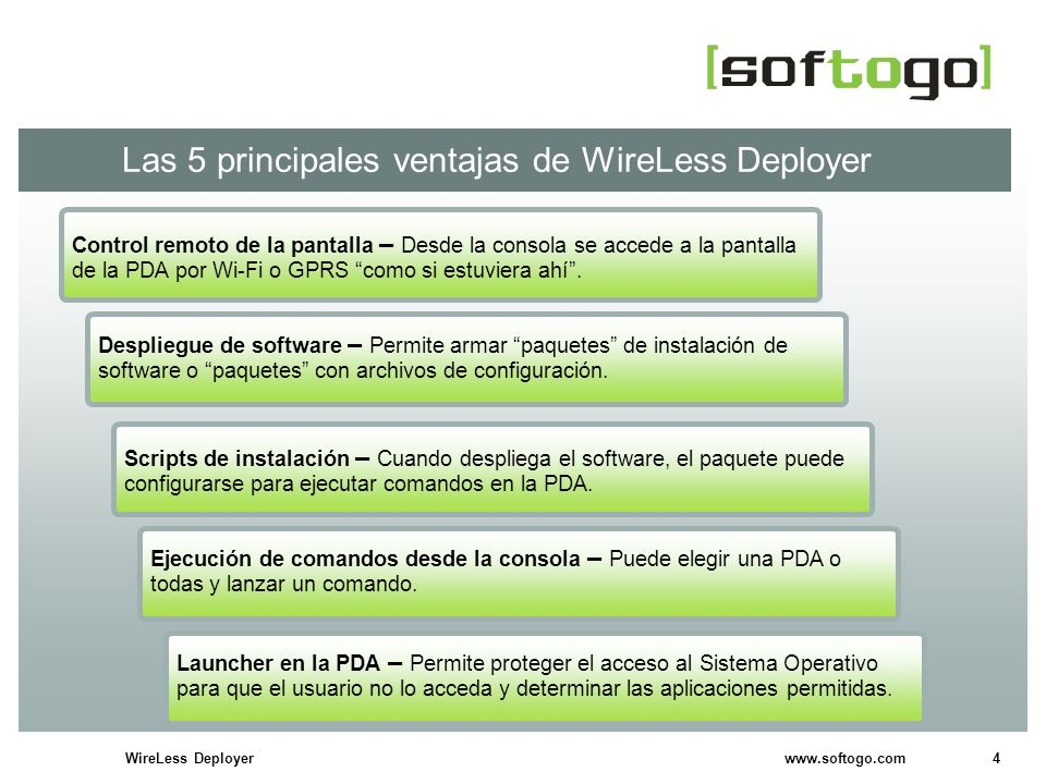 4WireLess Deployer www.softogo.com Las 5 principales ventajas de WireLess Deployer Scripts de instalación – Cuando despliega el software, el paquete p