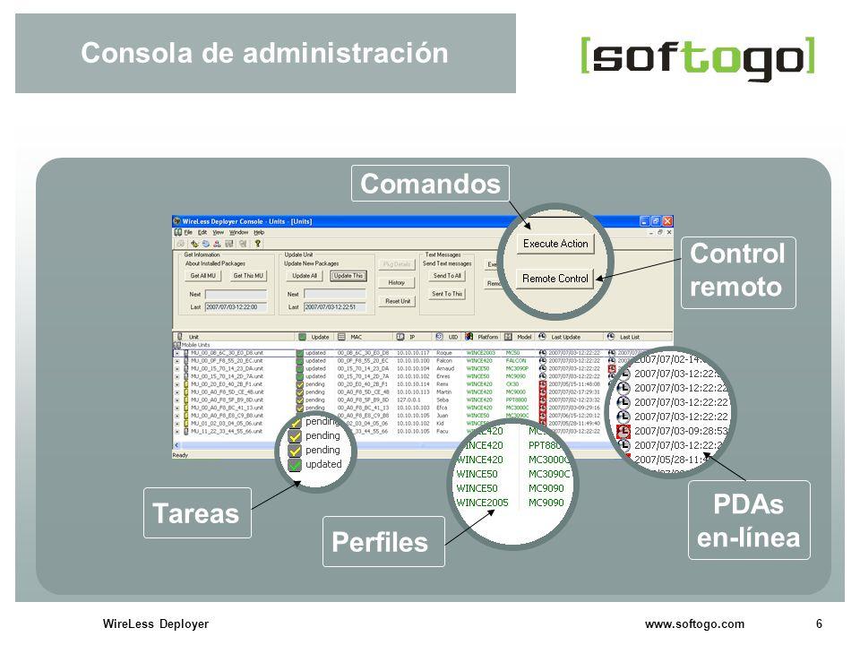 7WireLess Deployer www.softogo.com WireLess Deployer Rápido despliegue de software Software persistente Instalación de software (software + scripts de instalación).