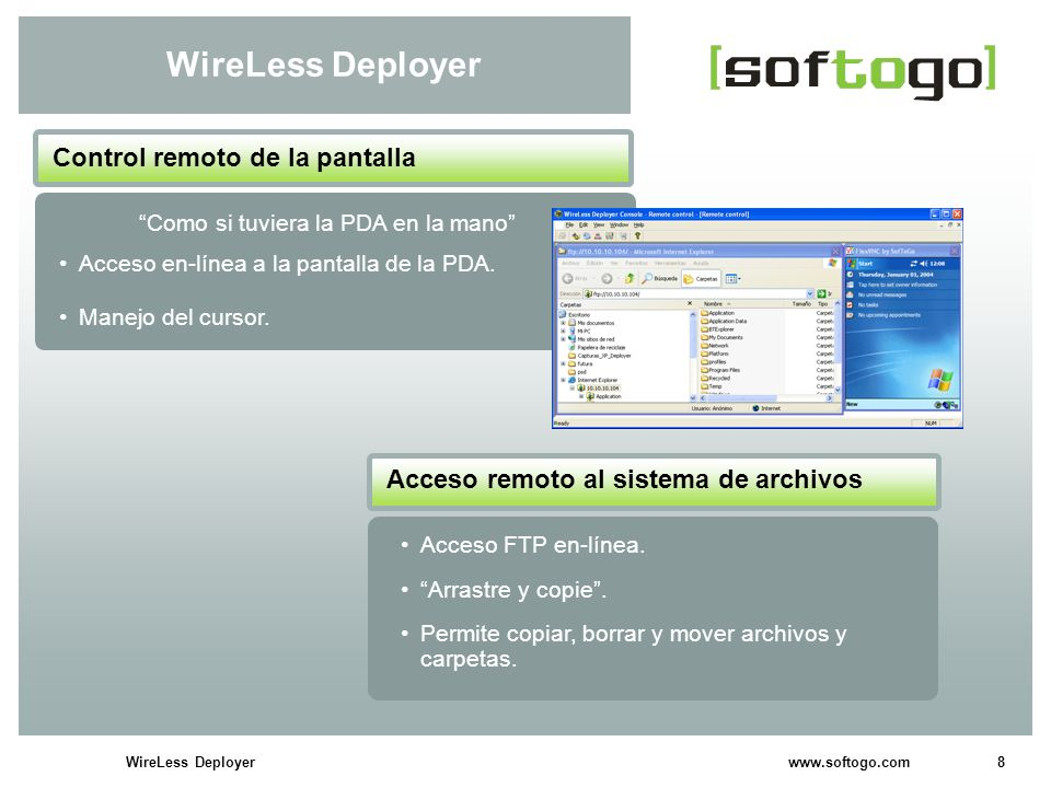 8WireLess Deployer www.softogo.com WireLess Deployer Acceso FTP en-línea.