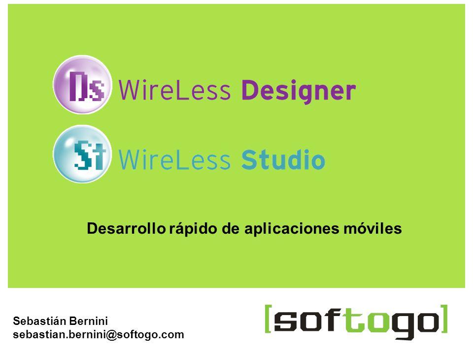 1WireLess Designer www.softogo.com Sebastián Bernini sebastian.bernini@softogo.com Desarrollo rápido de aplicaciones móviles