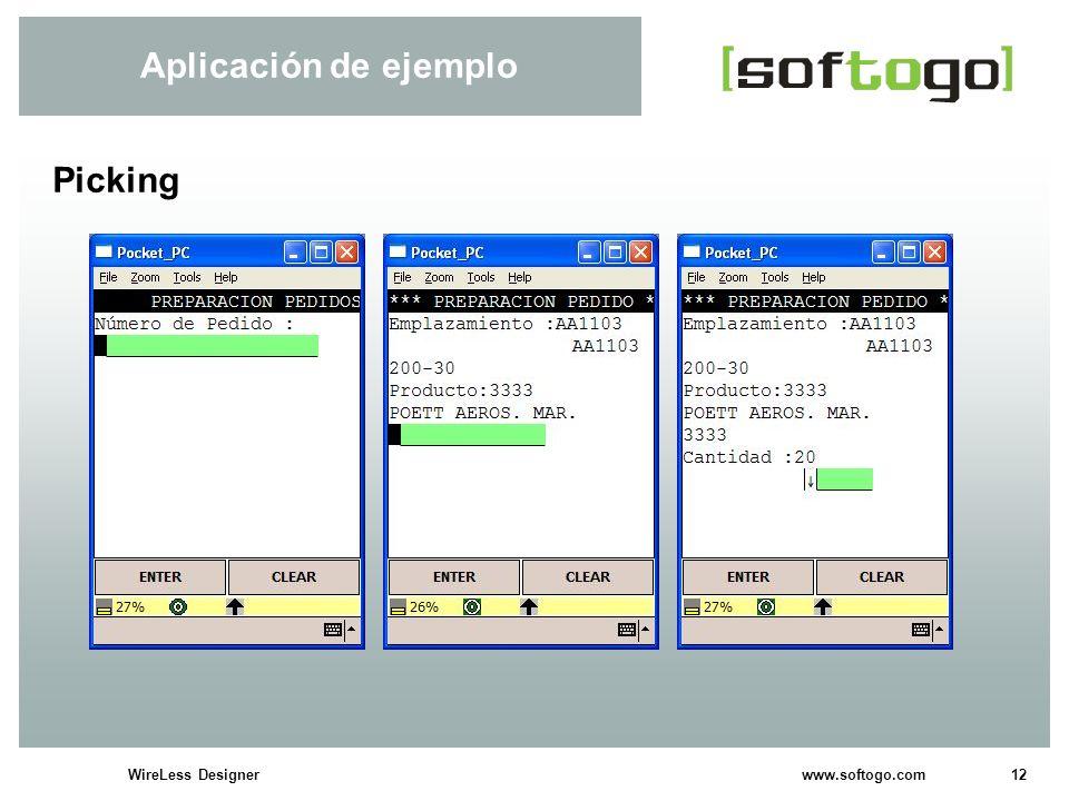 12WireLess Designer www.softogo.com Aplicación de ejemplo Picking