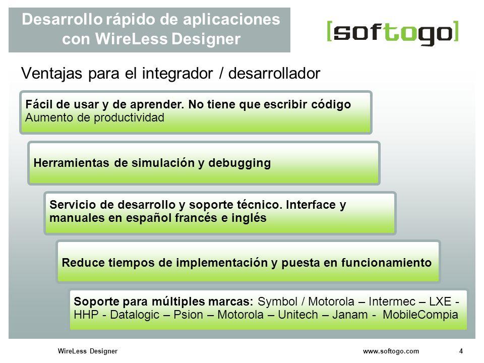 5WireLess Designer www.softogo.com Desarrollo rápido de aplicaciones con WireLess Designer Ventajas para el cliente final Aplicaciones modulares y flexibles que pueden adaptarse.