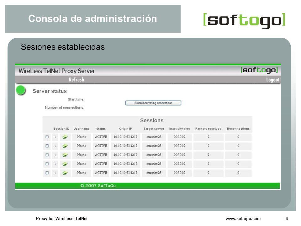 6Proxy for WireLess TelNet www.softogo.com Consola de administración Sesiones establecidas
