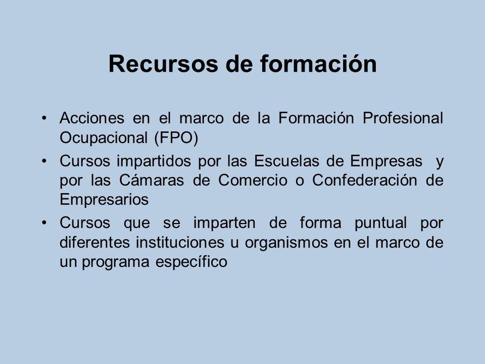 Recursos de formación Acciones en el marco de la Formación Profesional Ocupacional (FPO) Cursos impartidos por las Escuelas de Empresas y por las Cáma