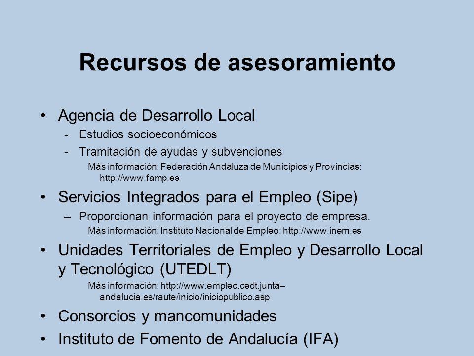 Recursos de asesoramiento Agencia de Desarrollo Local -Estudios socioeconómicos -Tramitación de ayudas y subvenciones Más información: Federación Anda