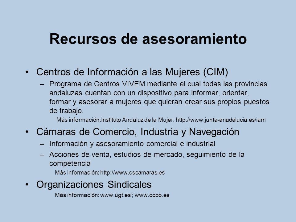Recursos de asesoramiento Centros de Información a las Mujeres (CIM) –Programa de Centros VIVEM mediante el cual todas las provincias andaluzas cuenta