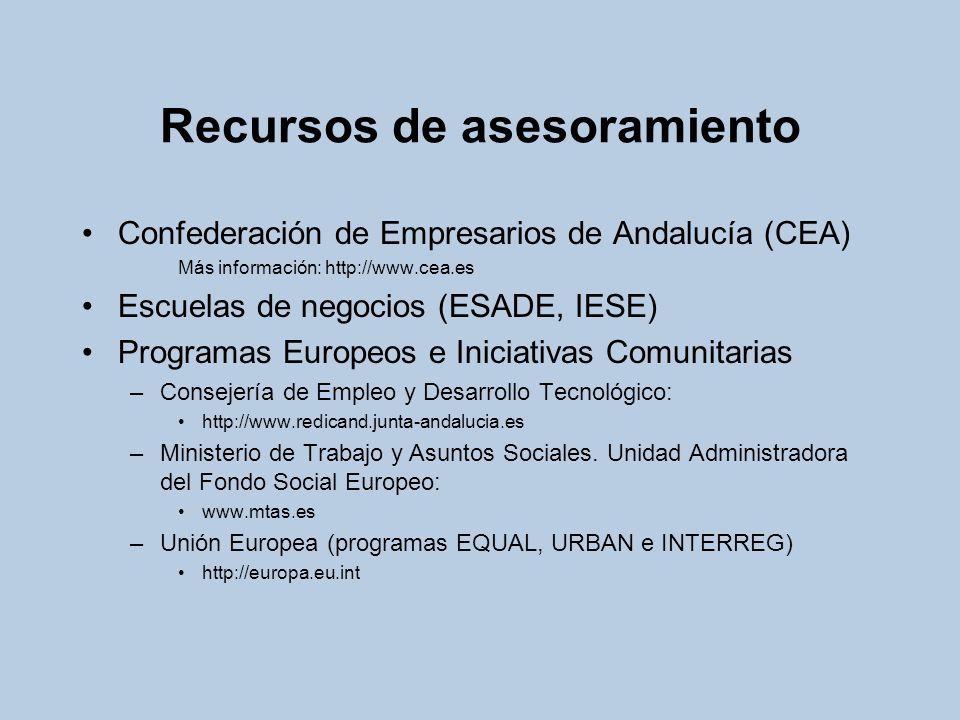 Recursos de asesoramiento Confederación de Empresarios de Andalucía (CEA) Más información: http://www.cea.es Escuelas de negocios (ESADE, IESE) Progra