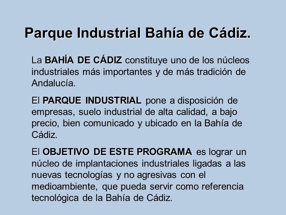 Parque Industrial Bahía de Cádiz. La BAHÍA DE CÁDIZ La BAHÍA DE CÁDIZ constituye uno de los núcleos industriales más importantes y de más tradición de