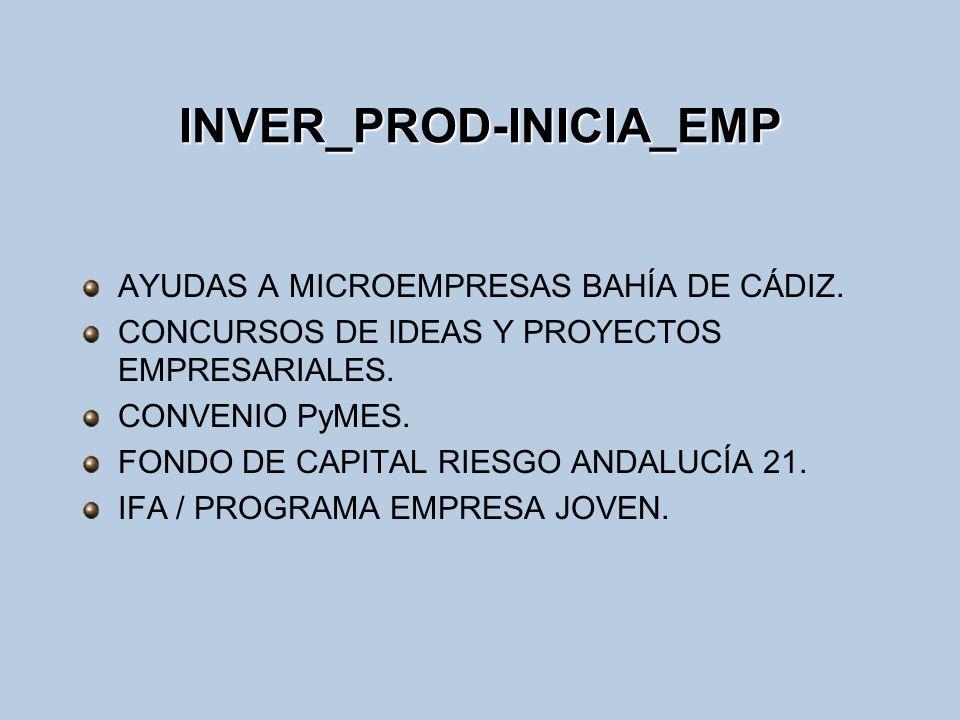 INVER_PROD-INICIA_EMP AYUDAS A MICROEMPRESAS BAHÍA DE CÁDIZ. CONCURSOS DE IDEAS Y PROYECTOS EMPRESARIALES. CONVENIO PyMES. FONDO DE CAPITAL RIESGO AND