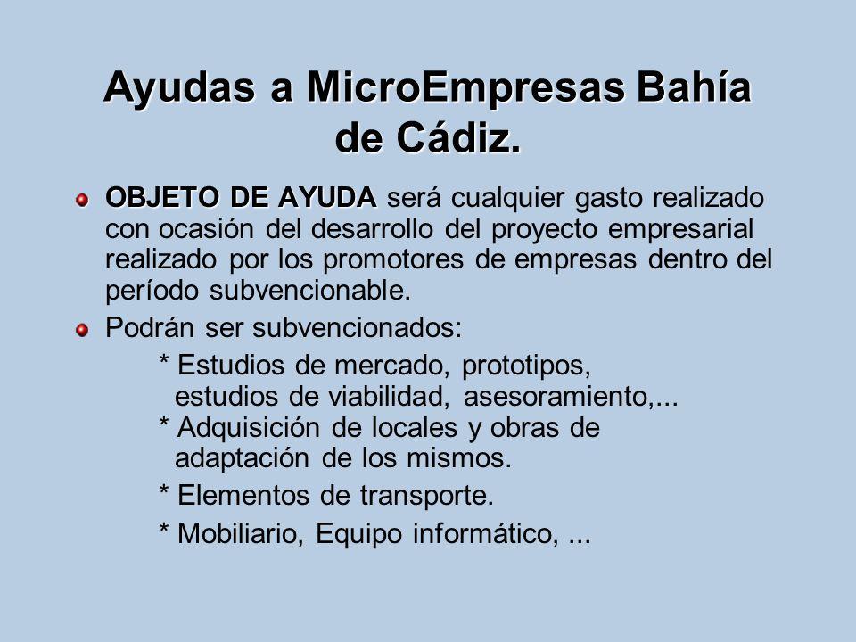 Ayudas a MicroEmpresas Bahía de Cádiz. OBJETO DE AYUDA OBJETO DE AYUDA será cualquier gasto realizado con ocasión del desarrollo del proyecto empresar