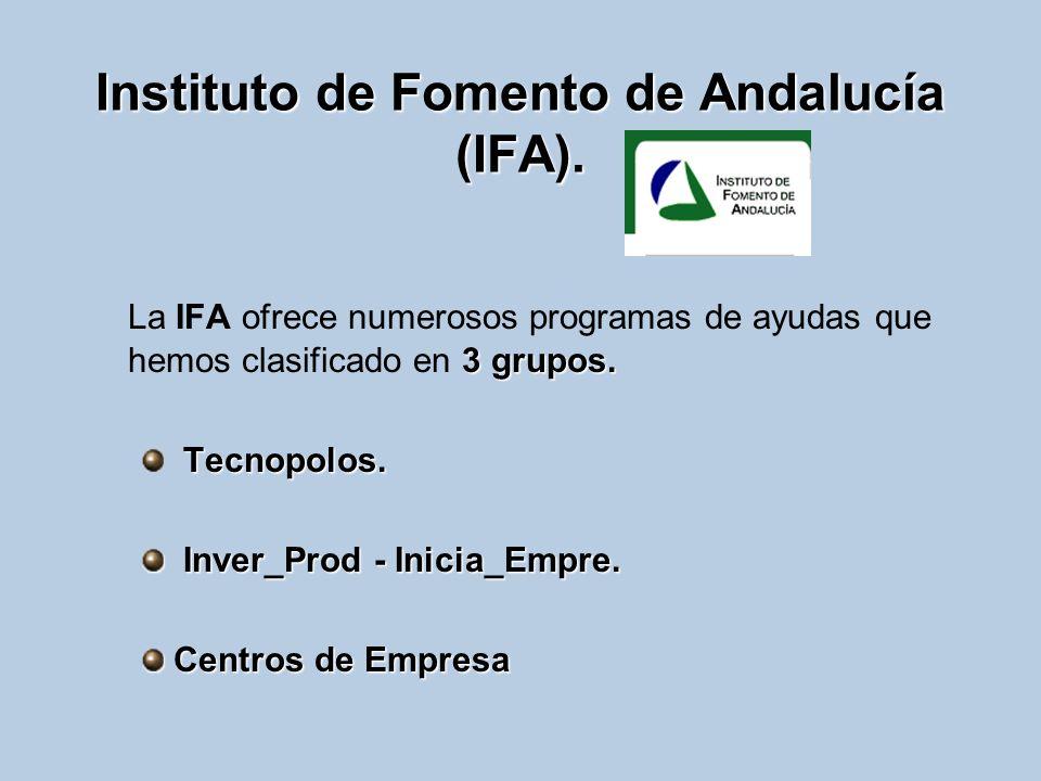 Instituto de Fomento de Andalucía (IFA). 3 grupos. La IFA ofrece numerosos programas de ayudas que hemos clasificado en 3 grupos. Tecnopolos. Inver_Pr