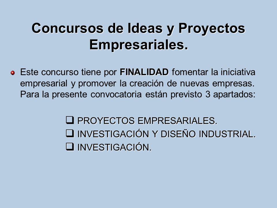 Concursos de Ideas y Proyectos Empresariales. FINALIDAD Este concurso tiene por FINALIDAD fomentar la iniciativa empresarial y promover la creación de