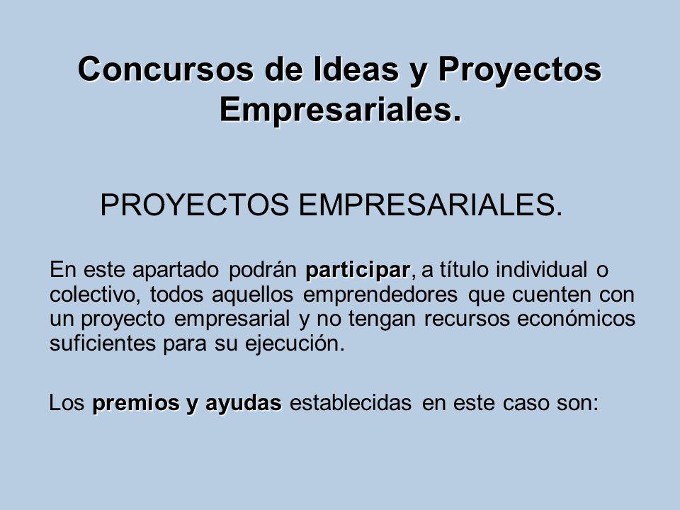 Concursos de Ideas y Proyectos Empresariales. PROYECTOS EMPRESARIALES. participar En este apartado podrán participar, a título individual o colectivo,