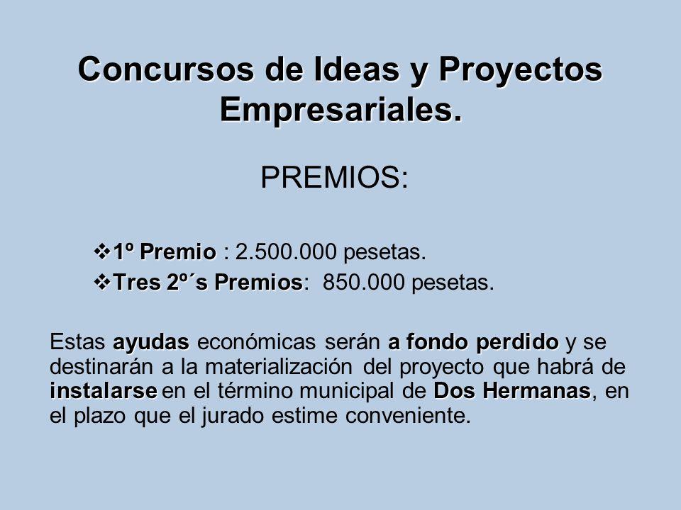 Concursos de Ideas y Proyectos Empresariales. PREMIOS: 1º Premio 1º Premio : 2.500.000 pesetas. Tres 2º´s Premios Tres 2º´s Premios: 850.000 pesetas.