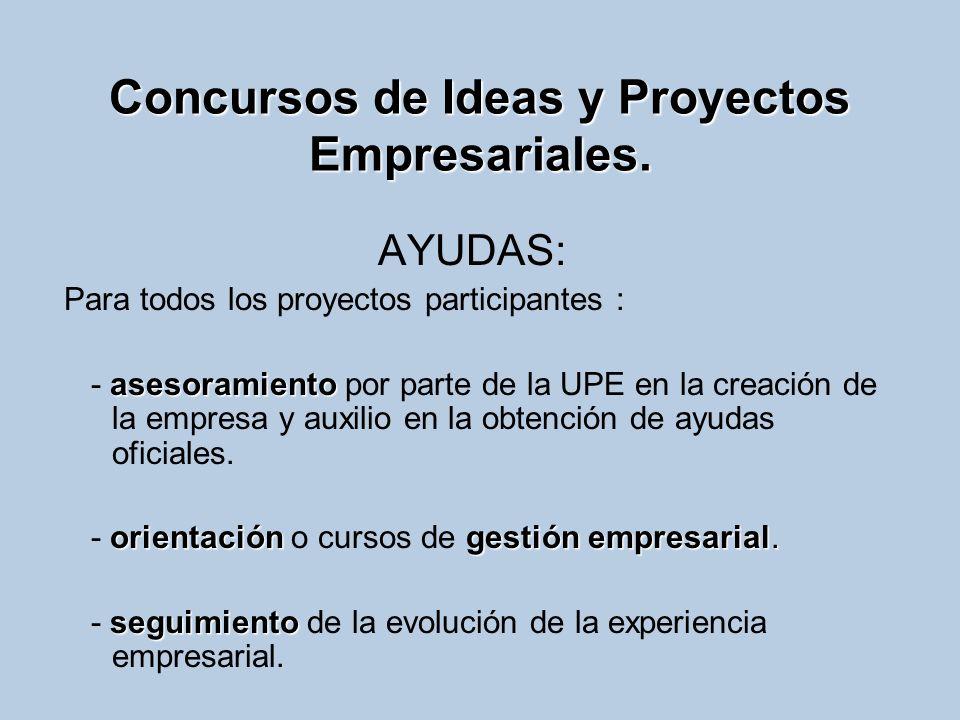 Concursos de Ideas y Proyectos Empresariales. AYUDAS: Para todos los proyectos participantes : asesoramiento - asesoramiento por parte de la UPE en la