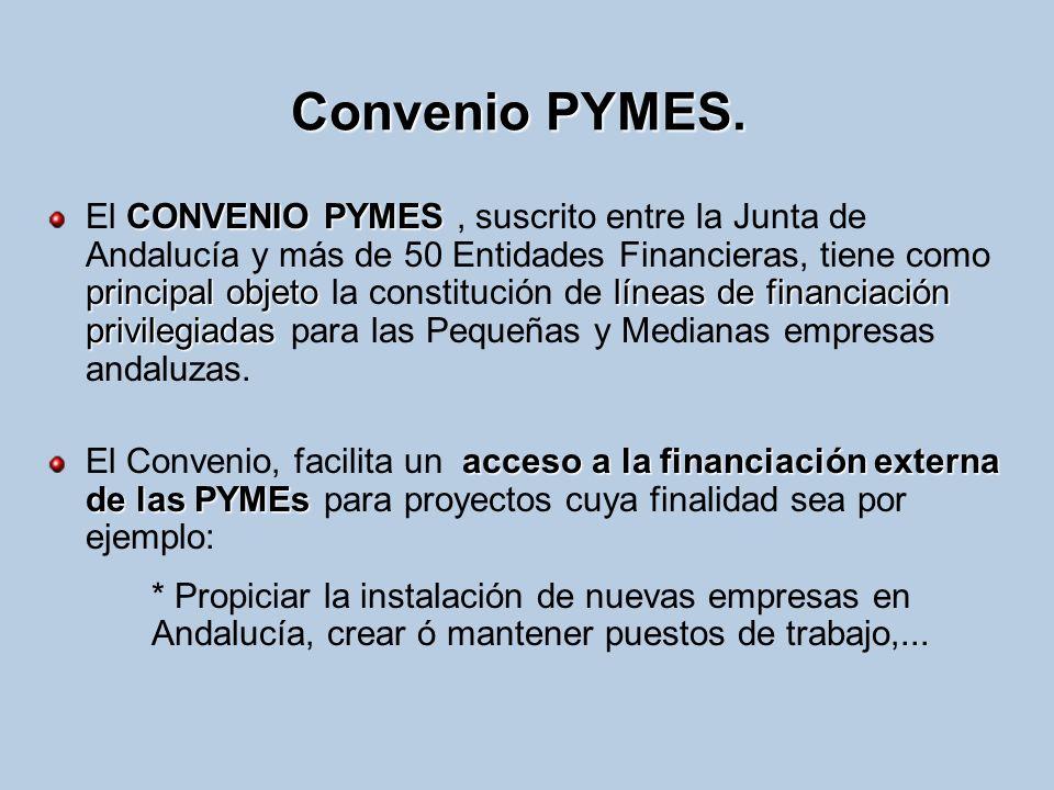 Convenio PYMES. CONVENIO PYMES principal objetolíneas de financiación privilegiadas El CONVENIO PYMES, suscrito entre la Junta de Andalucía y más de 5
