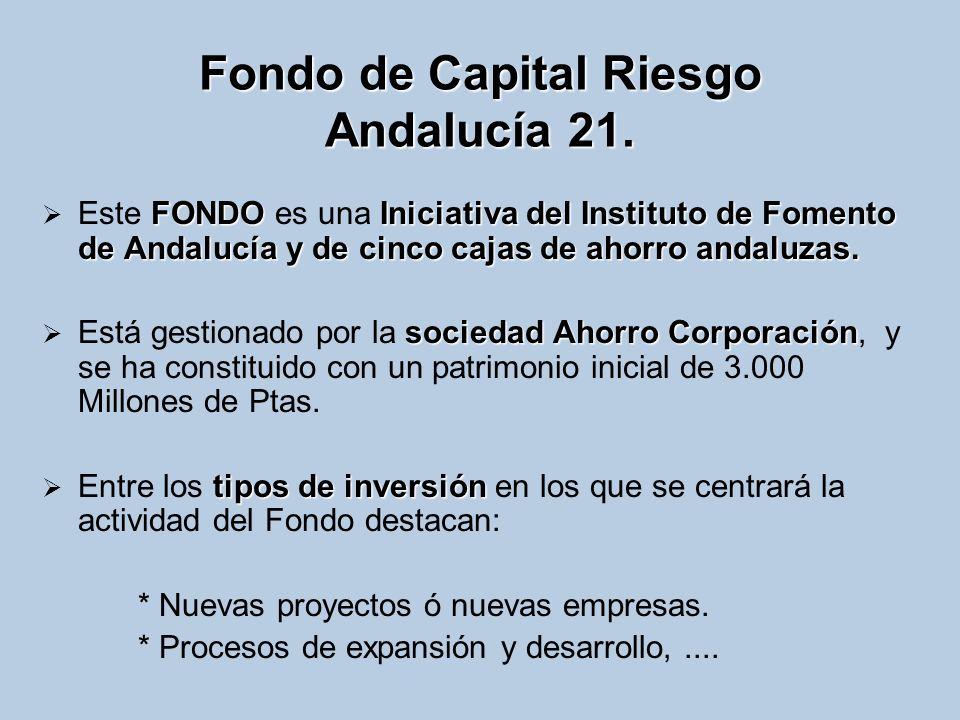 Fondo de Capital Riesgo Andalucía 21. FONDOIniciativa del Instituto de Fomento de Andalucía y de cinco cajas de ahorro andaluzas. Este FONDO es una In