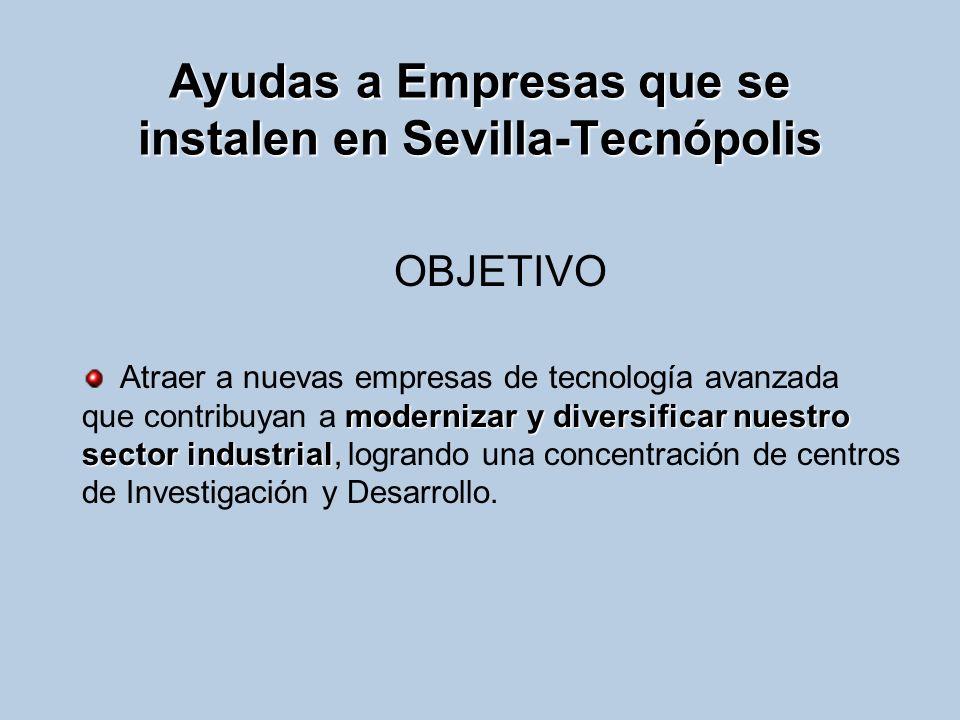 Ayudas a Empresas que se instalen en Sevilla-Tecnópolis OBJETIVO modernizar y diversificar nuestro sector industrial Atraer a nuevas empresas de tecno
