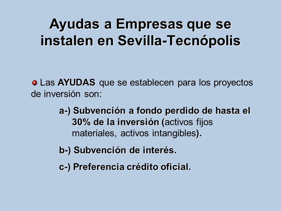 Ayudas a Empresas que se instalen en Sevilla-Tecnópolis AYUDAS Las AYUDAS que se establecen para los proyectos de inversión son: a-) Subvención a fond